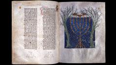 Cervera Bible menorah, 1299 golden lampstand menorah, Medieval
