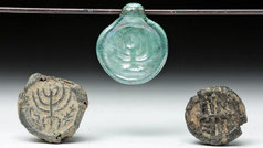Ancient Roman Glass and Lead Beads with Menorahs