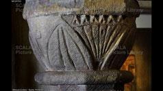 Stone capital known as the Palmito menorah Sinagoga del Agua, or Water Synagogue, Ubeda, Jaen, Andalusia, Spain