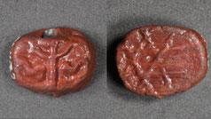 13th century. Bead; glass paste; decorated on obverse with a menorah; reverse, a star of David