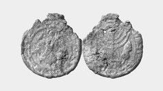 Jewish lead seal with menorah. Aramaic inscription, archangel Gabriel, Aries, goat
