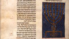 Cervera Bible. Menorah illumination, Josef Asarfati, Castile, between 1299 and 1300 in Catalonia, Spain