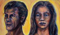 Gesicht eines jungen Mannes und einer jungen Frau