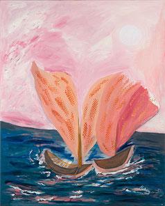 Boote Segel Meer Himmel rosa Liebe Romantik