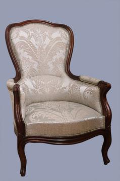 fauteuil bergère à bosse, époque Louis-Philippe, tissu damas