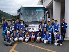 平成23年度に県・県社協と共同運行した災害ボランティアバス「ご恩返し号」
