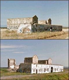 Casa de Postas antes y después del derrumbe