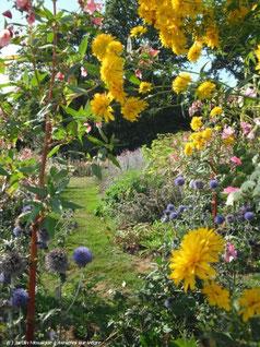 Asnières sur Vègre, un des plus beaux villages de France où se trouve le Jardin Mosaïque, unique en France