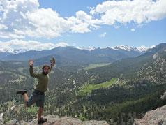 En haut du Gorilla rock, vue sur l'entrée des Rocky Mountains
