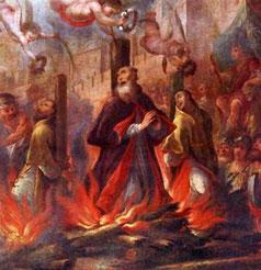 Das Martyrium des Heiligen Fructuosus und seiner Diakone Bild aus dem 18. Jh.