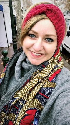 Bandeau en lain tricoté à la main FilTePlait - Snood tour de cou coloré en wax