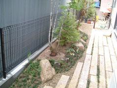 奈良県北葛城郡広陵町 植栽工事 石工事 施工事例 延べ石