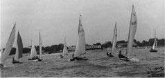 La Rochelle, 1946: le n° 213 (SRR) entouré, voiles nylon bicolore, du n°671 d'A. Joubert (YCM)  et du n°600 de G.Pisani (YCM)