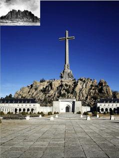 El valle de los Caidos en la actualidad con una imagen de Cuelgamuros en 1940 antes de la construcción del monumento franquista.