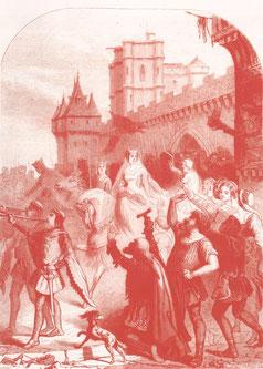 Blanche de Castille accueillant les pastoureaux qu'elle soutiendra dans un premier temps avant de vouloir les repousser. Gravure du XIXe. TEMPLE DE PARIS
