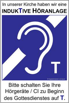 Beispiel für ein Hinweisschild zur indukTiven Höranlage in einer Kirche