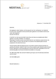 Schrijven Nedstaal in antwoord op de brief van Onafhankelijk Papendrecht