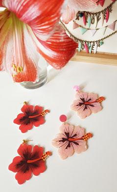 Pendientes flor hibiscos