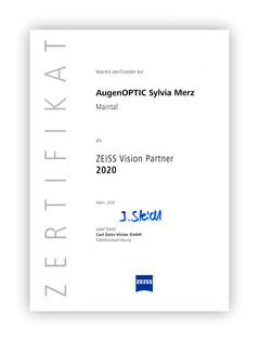 Zertifikat Zeiss Vision Partner