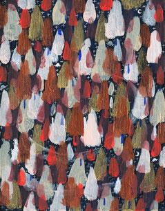 2014年 「夜の森」(180×140mm) 木製パネル・アクリル絵の具