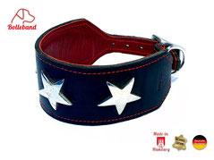 Lederhalsband für Windhunde mit silbernen Sternen und Polsterung Bolleband