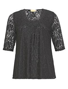 elegantes schwarzes Spitzentop für runde Frauen, Größe 42 bis 52