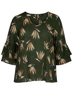 Bluse mit Muster und Rüschenärmeln oliv für runde Frauen, Größe 42 bis 52