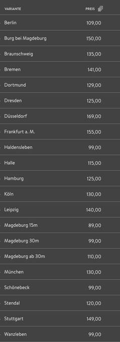 halteverbot hvb - Preisliste
