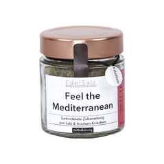 Glas mit Kupferdeckel gefüllt mit Kräutersalz Feel the Mediterranean