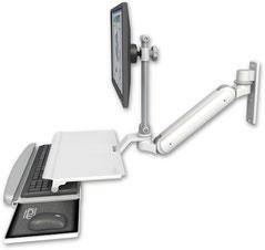ウォールマウント 壁取付用 ガススプリング内蔵 昇降式 ディスプレイキーボード ワークステーションアーム ワークサーフェス付:ASUL182IEV7-W3-KUS