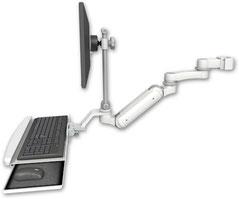 ポールマウント 支柱取付 ガススプリング内蔵 昇降式 ディスプレイキーボード用ワークステーションアーム VESA (6インチ(約15.2cm)延長アーム付):ASUL180IEV7-P2-KUB-AS1
