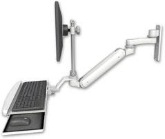 ウォールマウント 壁取付用 ガススプリング内蔵 昇降式 ディスプレイキーボード ワークステーションアーム :ASUL182IEV7-W3-KUB-AS1