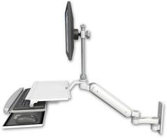 ウォールマウント 壁面固定 ガススプリング内蔵 昇降式 ディスプレイキーボード用ワークステーションアーム ワークサーフェス付 :ASUL182EV7-W3-KUS-AS1