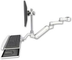 ポールマウント 支柱取付 ガススプリング内蔵 昇降式 ディスプレイキーボード用ワークステーションアーム VESA (6インチ(約15.2cm)延長アーム付) :ASUL180IEV7-P17-KUB-AS1