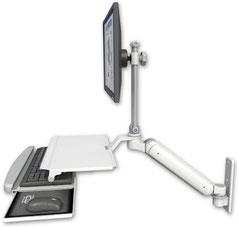 ウォールマウント 壁面固定 ガススプリング内蔵 昇降式 ディスプレイキーボード用ワークステーションアーム ワークサーフェス付:ASUL182EV7-W3-KUS
