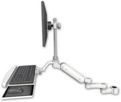 ポールマウント 支柱取付 ガススプリング内蔵 昇降式 ディスプレイキーボード用ワークステーションアーム :ASUL180EV7-P15-KUB-AS1