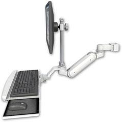 ポールマウント 支柱取付 ガススプリング内蔵 昇降式 ディスプレイキーボード用ワークステーションアーム :ASUL180IEV7-P2-KUB