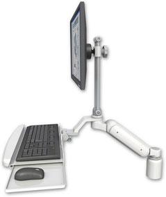 デスクマウント ガススプリング内蔵 昇降式 ディスプレイキーボード用ワークステーションアーム:ASUL180EV7-D3-KUB