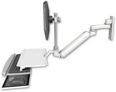 ウォールマウント 壁取付用 ガススプリング内蔵 昇降式 ディスプレイキーボード ワークステーションアーム ワークサーフェス付 (6インチ(約15.2cm)延長アーム付) :ASUL182IEV7-W3-KUS-AS1