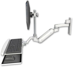 ウォールマウント 壁面固定 ガススプリング内蔵 昇降式 ディスプレイキーボード用 ワークステーションアーム:ASUL180IEV7-W3-KUB-AS1
