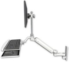 ウォールマウント 壁面固定 ガススプリング内蔵 昇降式 ディスプレイキーボード用ワークステーションアーム :ASUL182EV7-W3-KUB-AS1