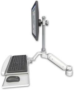 デスクマウント ガススプリング内蔵 昇降式 ディスプレイキーボード用ワークステーションアーム :ASUL180EV7-D1-KUB
