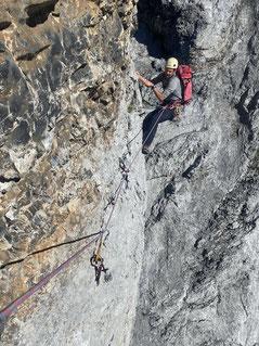 """Die definitiv schwierigste Kletterstelle beim sogenannten """"Hick""""."""
