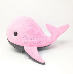 Plüschtier Wal, rosa, bestickt mit Namen und Spieluhr mit Melodie- Wahl. Geschenk für Baby Mädchen zur Taufe, Geburt, Geburtstag