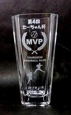 野球大会 優勝MVP ガラストロフィー 盾 クリスタル