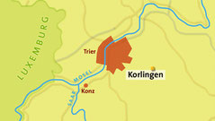 Straßenkarte von Korlingen