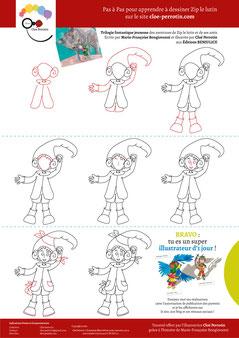 Tutoriel pour apprendre à dessiner un lutin : Zip le lutin écrit par Marie-Françoise Bongiovanni et illustré par Cloé Perrotin