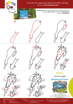 Tutoriel pour apprendre à dessiner des poissons : Faribole et Mistigri extrait de l'album écrit par Marie Garnier et illustré par Cloé Perrotin