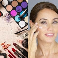 Kosmetik & Visagistik - Schöne Frau pflegt ihr Gesicht