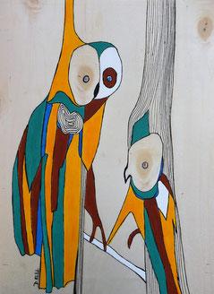 Oiseaux n°4 , acrylique et posca sur bois
